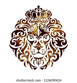 Ornamental decorative isolated golden lion with a crown on a white background. Can be used for t-shirt, poster, tattoo, textile, element for card design. Hand drawn vector illustration
