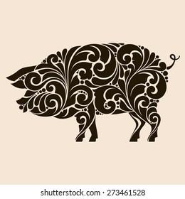 Ornamental decorative pig silhouette.