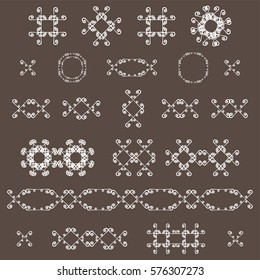 Ornamental decorative set. Vector ornate design elements. Vintage page decoration. Graphic frames and dividers. Templates Collection.