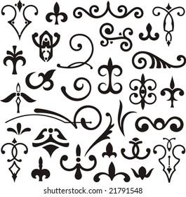Ornamental design elements, vector series.