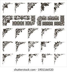 Ornamental design lace borders and corners Vector set art deco floral ornaments elements