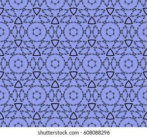 Ornamental design. Modern seamless geometry pattern. Vector illustration. For interior design, printing, web and textile design. Blue, black color