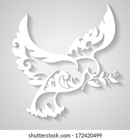 Ornamental dove with olive branch. Symbol of peace. Decorative bird in paper style