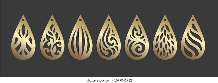 Ornamental earring templates. Laser cut pendant. Faux leather bijouterie design.