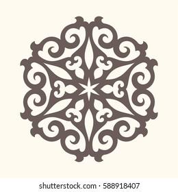 Ornamental element in oriental style.Tatar motif. Eastern pattern. Mandala design. Circular form