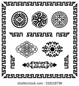 Ornamental elements isolated on white. Vector shapes. Asian style.