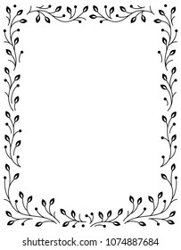 Ornamental Fairy-tale Flower Frame. Retro, vintage, gothic style.