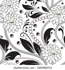 Ornamental floral black and white vector seamless pattern. Surface 3d white pearls. Lace lines, chains, beads, flowers, leaves. Beautiful patterned background. Decorative fantasy hand drawn ornament.