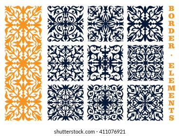 Ornamental floral design elements for border, frame or page decoration design usage with openwork flourish motif of flowers and leafy branches