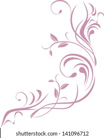 Ornamental floral element for design isolated on the white. Vector