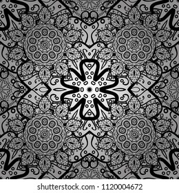 Ornamental floral elements with henna tattoo, cute stickers, mehndi and yoga design, cards and prints. Pattern on white, black and gray colors with cute elements. Vector cute mehndi seamless pattern.