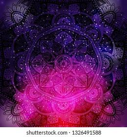 Ornamental floral ethnic mandala on purple galaxy background, vector illustration