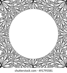Ornamental floral frame with space for text, greeting card template or coloring book page, circle in square. Vector illustration