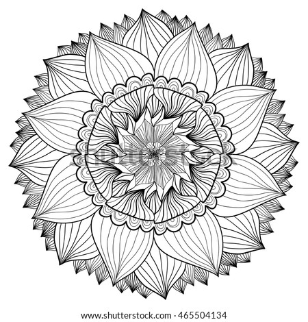 Ornamental Floral Mandala Flower Ornament Pattern Vector For Adult Coloring Page Or Decoration