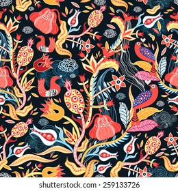 ornamental floral pattern with birds on a dark background