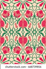 Ornamental floral pattern. Colorful background with pomegranates. Template for textile, carpet, wallpaper, shawl.