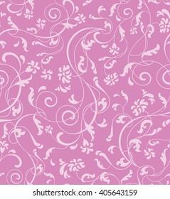 Ornamental floral seamless pattern in light pink and violet pastel color. Floral vector background. Floral and swirl print. Seamless backdrop ornament. Ornamental decor.
