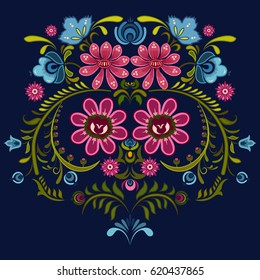 Ornamental flower design of Khokhloma a Russian style painting in vector