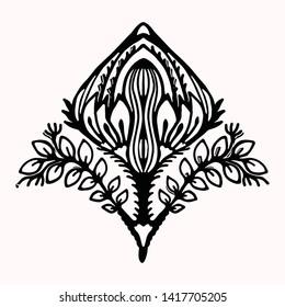 Ornamental flower folk art graphic design element. Hand drawn linocut block print style. Black folkloric flower clip art . Decorative line flourish motif outline. Arabesque nature tattoo symbol shape.