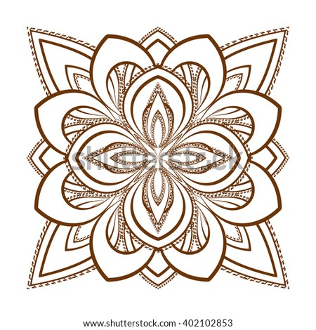 Ornamental Flower Pattern Henna Mandala Mehndi Stock Vector Royalty
