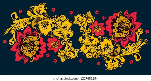 Ornamental flowers in Khokhloma style. Floral design. Traditional Russian Hohloma Vector illustration