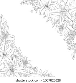 Ornamental flowers on white background