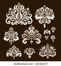 Ornamental flowers. Vector set with floral elements in vintage style
