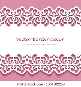 Ornamental frame with cutout floral swirls, lace border pattern, vector template for paper cutting, ornamental decoration for greeting card or wedding invitation design, eps10