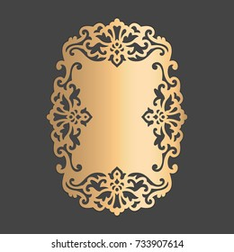 Ornamental frame. Laser cut design element. Die cut embellishment pattern.