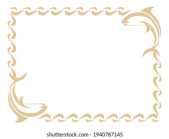Ornamental frame in marine theme with dolphin figures. Vector file. Can be used as glass etching pattern, as a printable banner,as well. Can be used to decorate a mirror also.