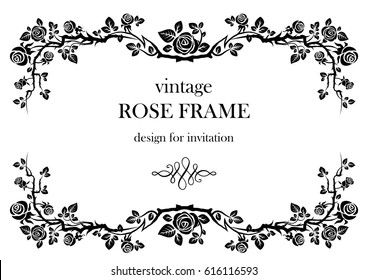 Ornamental frame with roses. Solemn floral element for design banner,invitation, leaflet, card, poster and so on. Wedding or jubilee theme.