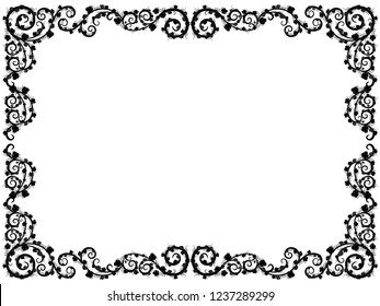 Ornamental framed floral pattern with grape border elements and with leaves, black vector illustration on the white background