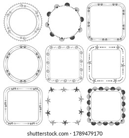 ornamental frames with fish and seashells - vector marine set