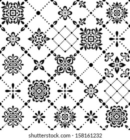 Ornamental geometric floral background. Seamless pattern for your design wallpapers, pattern fills, web page backgrounds, surface textures.