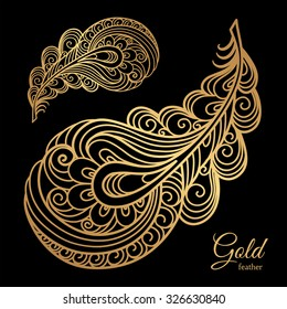 Ornamental gold feather, swirly decorative element on black, vector illustration
