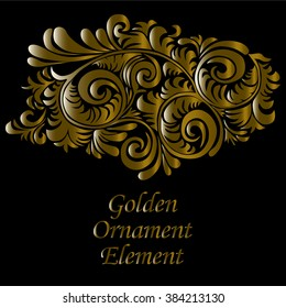 Ornamental gold and swirly decorative element,   on black background isolated on separate layer. Vector EPS10.