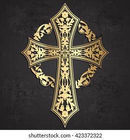 ornamental golden cross with floral wreath on grunge background/ vector illustration