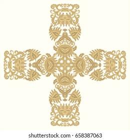 Ornamental golden vector cross on light background