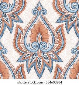 Ornamental hand drawn ethnic decorative flower seamless pattern. Vintage backdrop in bohemian style. Tribal ornamental background for card, invitation, wallpaper, web design, fabric, wrapping paper.
