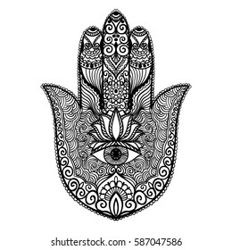 Ornamental hand with eye. Vector hand drawn indian protective symbol