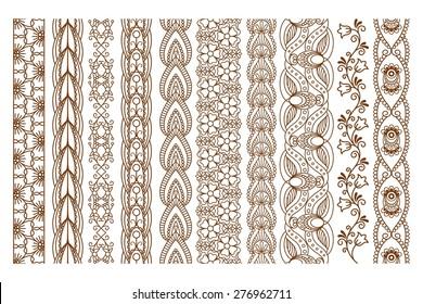 Ornamental Indian Henna Seamless Borders Vector Set for Ethnic Decor