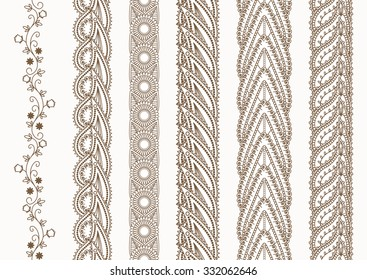 Ornamental Indian Henna Seamless Borders Vector Set for Ethnic Decor. Ethnic border ribbon. Doodle style