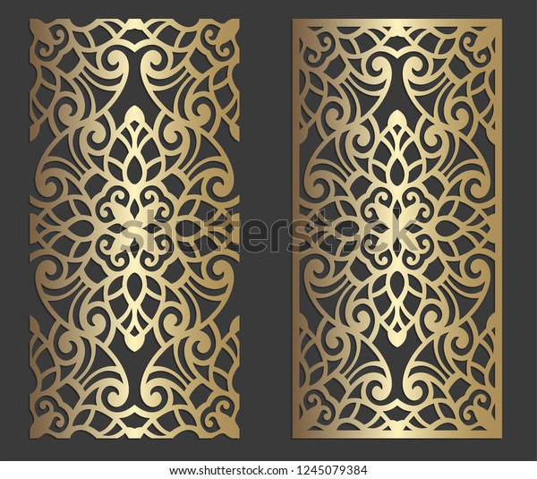 Ornamental Laser Cut Panel Wall Decor Stock Vector (Royalty