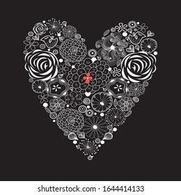 Ornamental light heart pattern for Valentine's day. Heart template for a holiday.