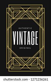 Ornamental Line Art Deco Label Decorative Luxury Logo Badge Beautiful Design Element