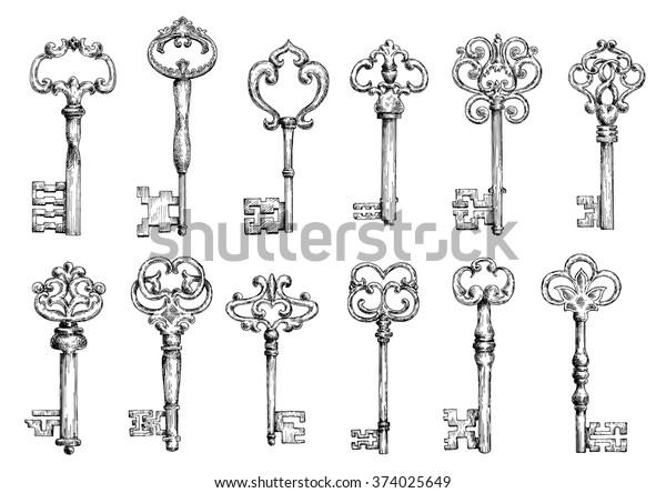 Декоративные средневековые старинные ключи с замысловатой ковки, состоящие из элементов fleur-de-lis, викторианских листовых свитков и вихрей в форме сердца.
