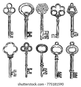 Ornamental medieval vintage keys set with intricate design, Victorian leaf scrolls and hand drawn heart shaped swirls,  composed of flower-de-luce shapes.  Vector.