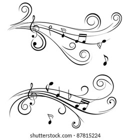 Ornamental music notes with swirls on white background