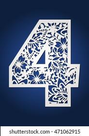 Ornamental number four. Floral numeral 4 for decoration. Fancy secret garden alphabet for laser cutting. Decorative spring font.