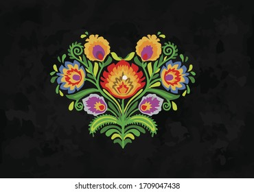 ornamental orient heart fiesta mexico green orange black yellow blue decoration tile culture traditional embroidery